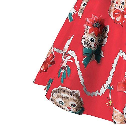 Swing Neve Vestito Partito Topgrowth Pupazzo Donne Babbo Rosso Di Signora Fantasia Natale Retro Donne Stampato fYfqP