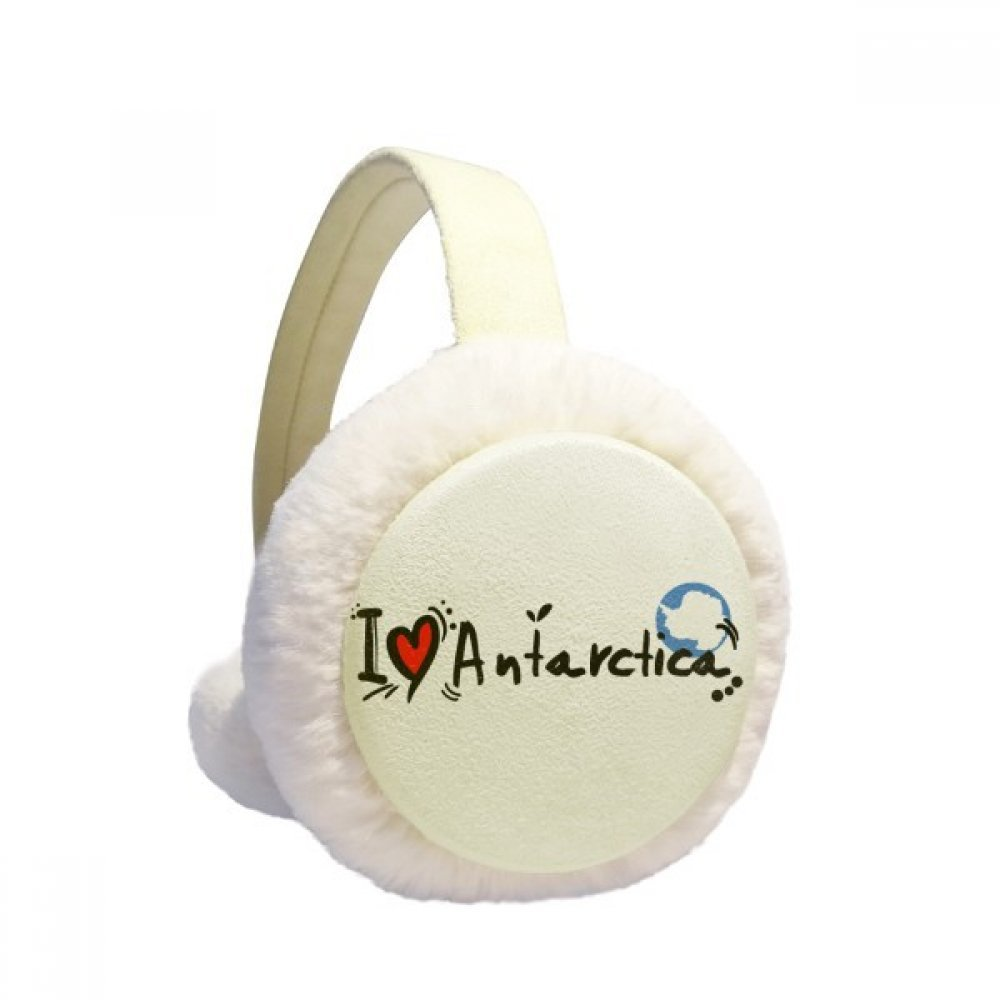 I Love Antarctica Word Flag Love Heart Illustration Winter Earmuffs Ear Warmers Faux Fur Foldable Plush Outdoor Gift