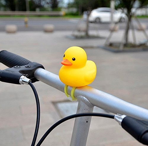 (SKYRI Kids Bike Horn Cute Bicycle Lights Bell Squeeze Horns for Toddler Children Adults Cycling Light Rubber Duck)