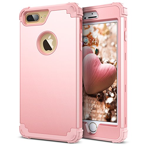 iPhone 7 Plus Case, WeLoveCase Hybrid Heavy Duty Shockproof Military Armor Protective Case Dual Layer High Impact Protection Case Cover with Extra Conner Cushion Bumpers for iPhone 7 Plus (Rose Gold)