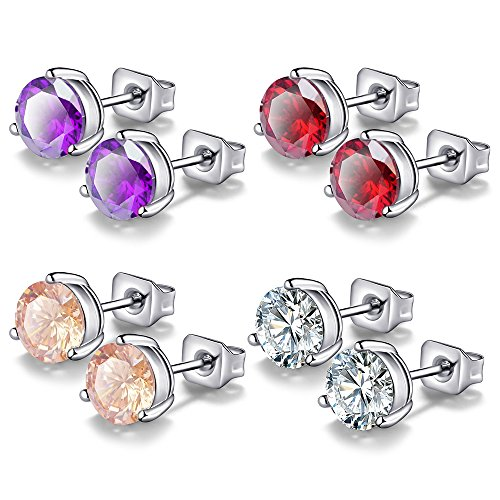 Anni Coco 4 Pairs 18k White Gold Plated Stainless Steel Needle Round CZ Stud Earrings Set for Women,8MM (Amethyst Steel Stainless Ring Created)