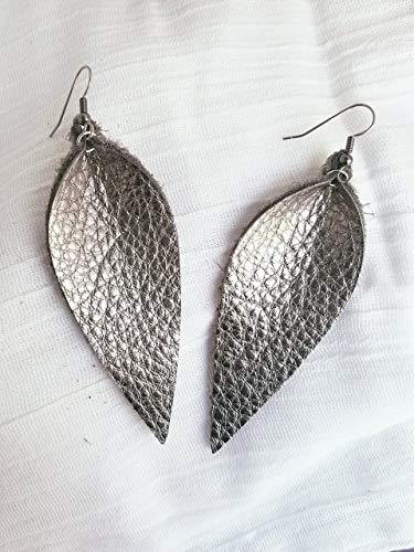 Large Leaf Earrings - Silver Metallic/Leather Earrings/FREE SHIPPING/Joanna Gaines/Zia/Statement/Leaf/Long/ 3.25