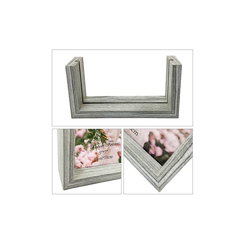 CRUGLA 5x7 Photo Picture Frames Frameless Tempered Glass Double Sided Frames Tabletop Display 5x7 Photograph Home Decor…