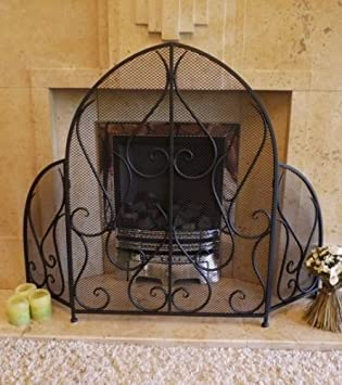 Traditional Vintage Style Iron Fire Guard Surround Ornate Mesh Screen Antique