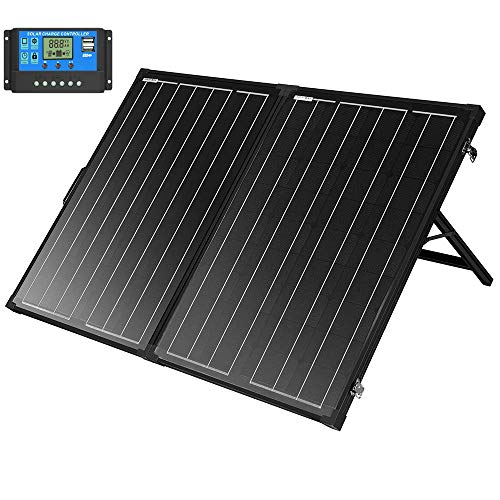 SUNGOLDPOWER 130 Watt 12V Off Grid Monocrystalline Portable Foldable Solar Panel Suitcase with 10A Waterproof Charge Controller (Solar Panel 130w)