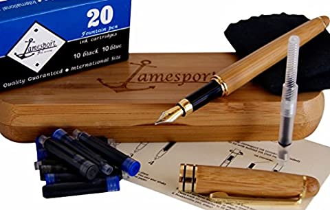 Jamesport Fountain Pen Value Gift Set - 20 Ink Cartridges included with Gold-Plated Bamboo Pen, Hand-Crafted Case, Converter, Instructions, Cleaning - Pen Part