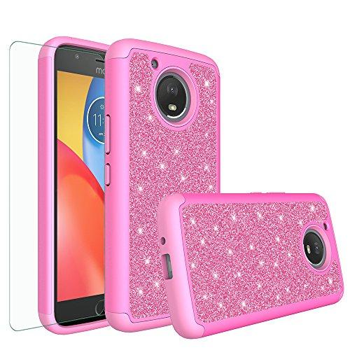 Moto E4 Plus Case, Moto E4 Plus Glitter Bling Heavy Duty Shock Proof Hybrid Case with [HD Screen Protector] Dual Layer Protective Phone Case Cover for Motorola Moto E4 Plus - Hot Pink