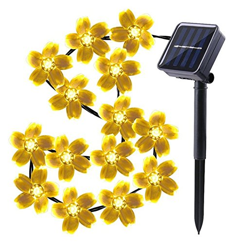 elecfan Solar String Lights 50 LEDs, Outdoor Waterproof IP65 Peach Sakura Flower Lamp, 2 Modes Flash/Steady-on Decoration Lighting Birthday, Homes, Parties, Landscape, Xmas Tree - Warm ()
