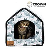 "Crown Pet Innovations | Indoor Cat House | Plush Pet Tent | Travel Cat Bed | Reversible Design | Small Pet Bed | 16""W x 16""L X 14""H 