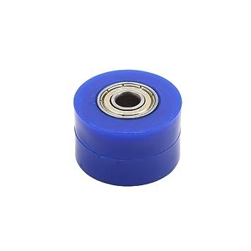 sourcing map Rodillo de Rueda Dentada para Moto Azul Orificio de 8mm Polea del Tensor de