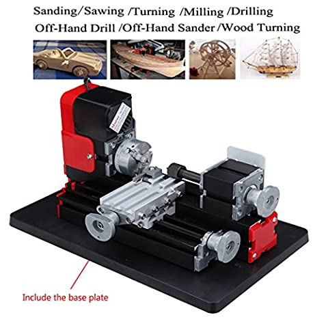 Ridgeyard Mini Motorized Metal Working Lathe Machine DIY Tool Woodworking Tool for Hobby Science Education (Commercial Wood Lathe)
