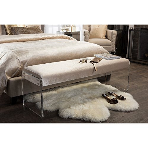 Baxton Studio Hildon Modern and Contemporary Microsuede Fabric Upholstered Luxe Bench with Paneled Acrylic Legs, Beige by Baxton Studio