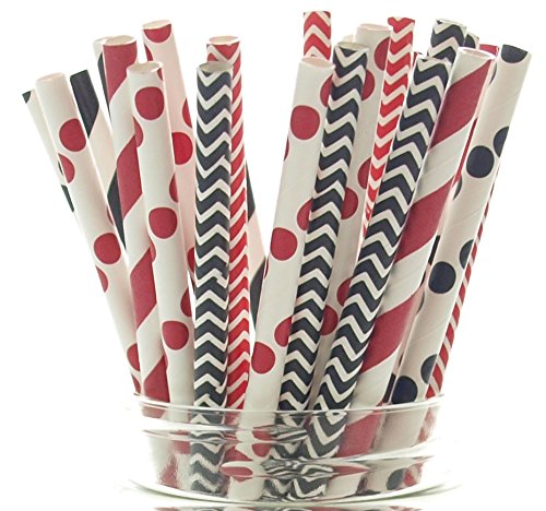 Ladybug Party Straws (25 Pack) - Black, Red & White Lady Bug Birthday Party Supplies, Ladybug Paper Straws - Bugs Birthday Cake