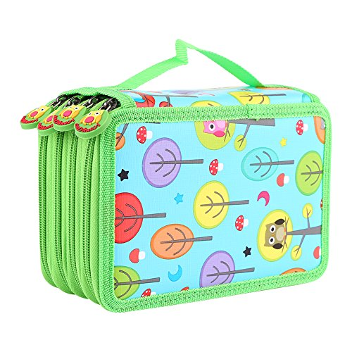 72 Insert Pencil Bag, Multi-layered Capacity Pockets Carry Case Student's Stationary Pencil Bag Children Pen Pouch Organiser for School Teenagers Girls Makeup Cosmetic Holder (Sky Blue) -