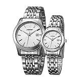 SINOBI 2 piezas relojes para pareja amantes de los hombres señoras mujeres negro cuarzo reloj de pulsera Set de regalo, 8168G03L03