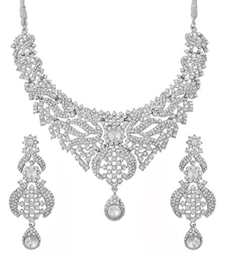 Touchstone Indian Bollywood Traditional Pretty Filigree Work White Rhinestone Mesmerizing Bridal Designer Jewelry Necklace Set for Women in Silver Tone