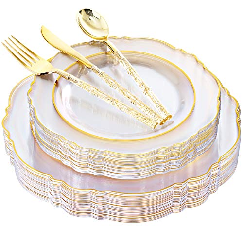 Liacere 150PCS Clear Gold Plastic Plates & Disposable Clear/Gold