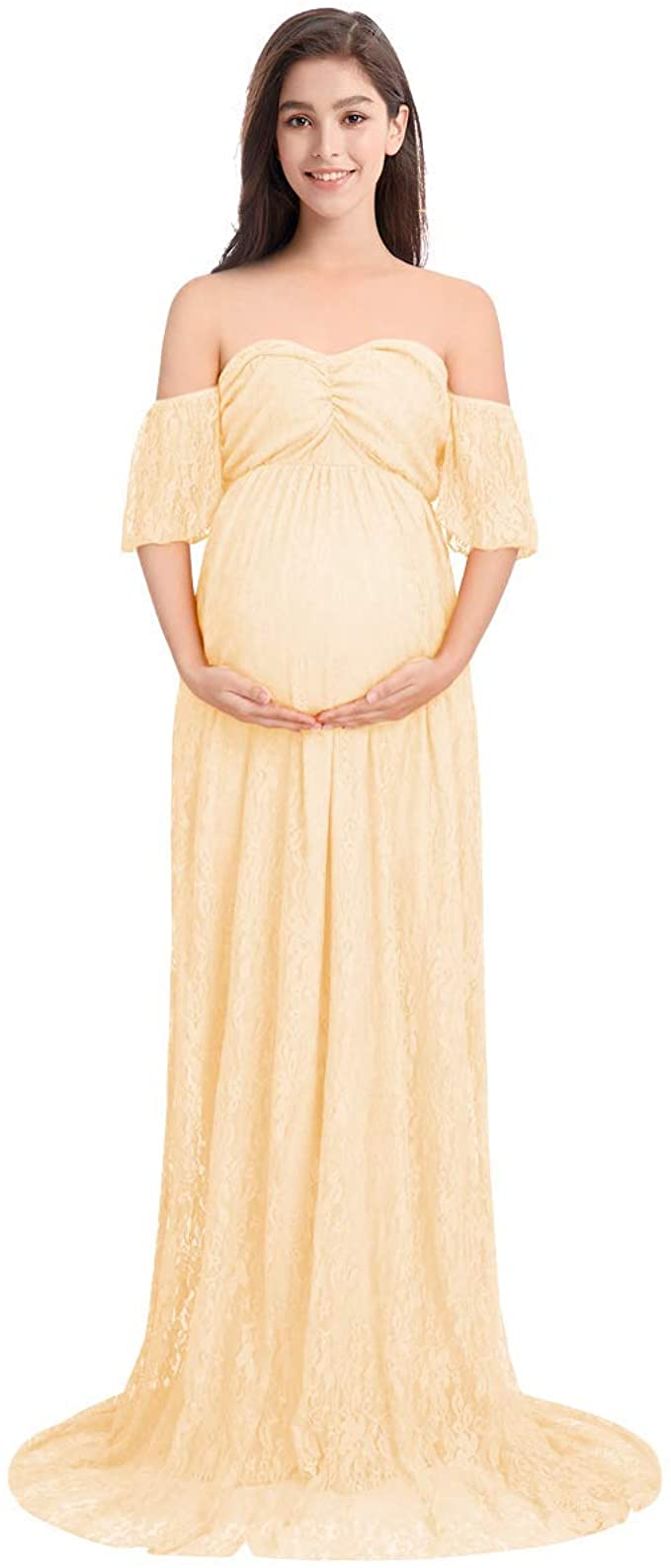 IWEMEK Frauen Schwangerschaftskleid, Damen Mutterschaft Spitzenkleid  Schulterfreies Kleid Schwangere Elegante Fotografie Stützen Off Schultern