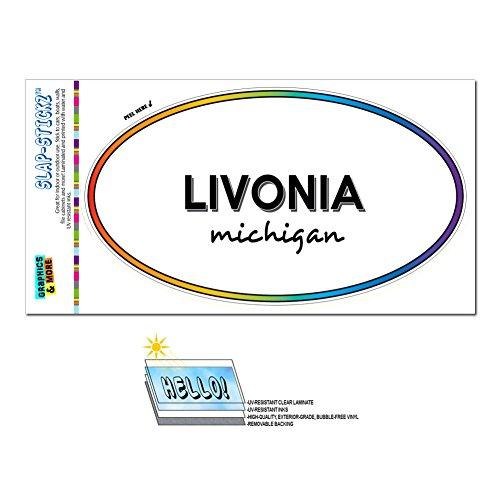 Graphics and More Rainbow Euro Oval Window Laminated Sticker Michigan MI City State Lak - Ort - (City Livonia)
