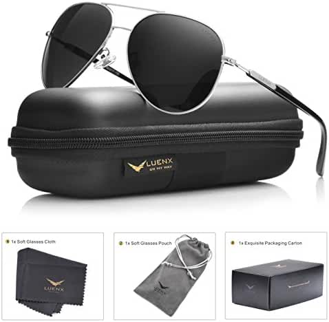LUENX Mens Womens Aviator Sunglasses Polarized with Accessories - UV 400 Protection Large Metal Frame for Outdoor