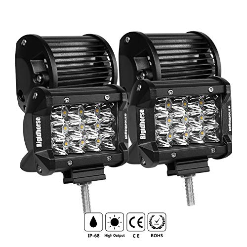 Led Light Bar Rigidhorse 3 Row 4pcs 4 Inch 50w Light Pods Spot Lights Fog Lights Driving Lights Work Light For Jeep Pickup Suv Trucks With Slidable Mounting Bracket 1 Year Warranty