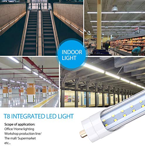 T8 65W LED Tube Light Bulb 8FT Double Row LEDs,Single Pin FA8 Base Led Shop Lights 150W Fluorescent Lamp Replacement Dual-Ended Power, Cool White 6000K, 7800LM, Clear Cover, AC 85-277V 12 Pack by Jomitop (Image #4)