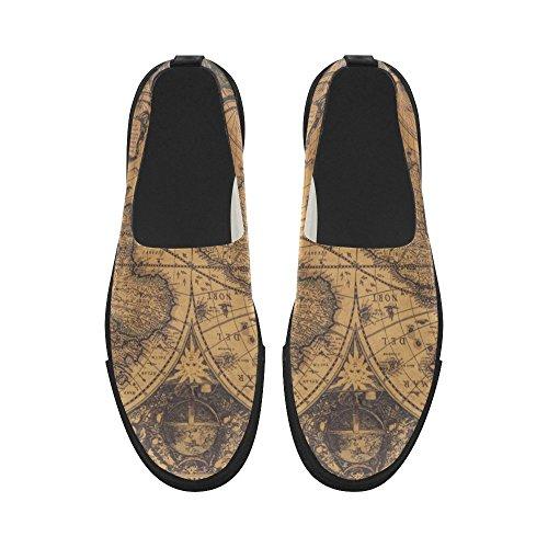 Sneaker Da Uomo In Microfibra Slip-on Vintage Con Mappamondo Vintage D-story