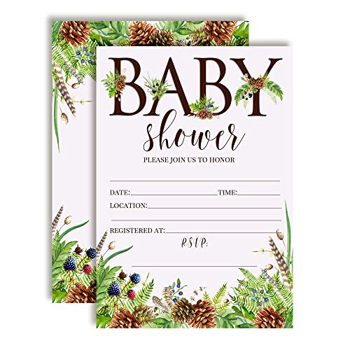 Watercolor Woodland Pinecones and Berries Baby Sprinkle Baby Shower Invitations, 20 5