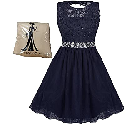 Nice Yougao Women's Tulle Short Applique Beading Formal Homecoming Cocktail Party Dress