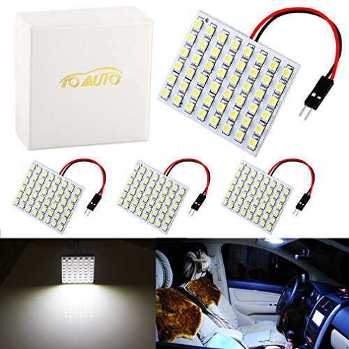 ToAUTO 4 X 48SMD Warm White Light Panel T10 BA9S Festoon Dome Interior Auto Car LED Bulb