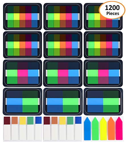 Adhesive Note Set - 1200 Pieces Sticky Tabs, Page Maker Flags, Wellerly Page Marker Tabs Flags Sticky Notes Pop up Index Book Tape Strip Neon Adhesive Flag Assorted Colors, 15 Sets 5 Sizes