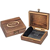 Image of Keep It Neat Whiskey Stones (Chilling Rocks) 9 Piece Handmade And Engraved Box Gift Set with Velvet Freezer Bag