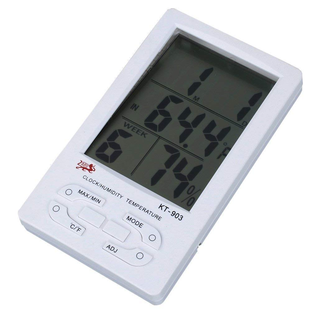 A-SZCXTOP LCD Digital KT-903 Thermometer Large Digital with Min/Max Temperature Daily Record Indoor/Outdoor Temperature Monitor