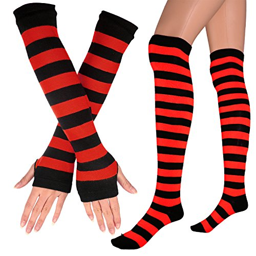 Womens Extra Long Striped Socks(Over Knee High Opaque Stockings ) & Long Arm Warmer Gloves(Punk Gothic Rock) (Black & Red, OneSize)