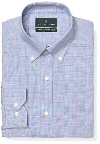 Classic One Pocket (Buttoned Down Men's Tailored Fit Button-Collar Pattern Non-Iron Dress Shirt, Blue/Pink Glen Plaid, 18.5