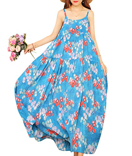 YESNO Women Casual Loose Bohemian Floral Print Empire Waist Spaghetti Strap Long Maxi Summer Beach Swing Dress E75 (S, E75 As Picture8) (Slip Waist Cotton)