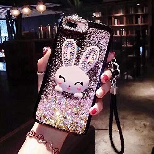Amocase Liquid Plastic Hard Case with 2 in 1 Stylus for Samsung Galaxy S10 Plus,Luxury 3D Cartoon Bunny Soft Rubber Bumper Quicksand Bling Glitter Lanyard Strap Case with Rabbit Stand - Pink