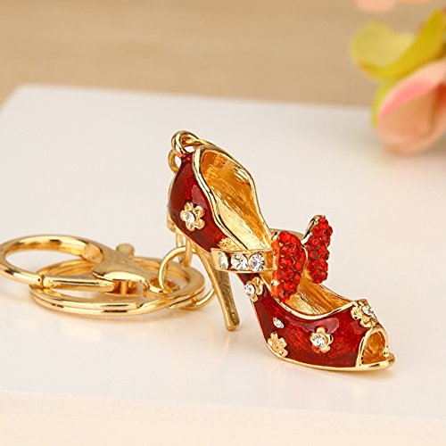 Reizteko Women's Gold Plated Crystal Rhinestone Butterfly Knot High Heels High Heel Shoe Keychain Pendant Keychain Charms Gift (Red)