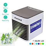 chermel Air Cooler, Personal Air Conditioner Fan 3 in 1 Portable Mini Evaporative Cooler, Humidifier, Purifier, Desktop Cooling Fan Personal Table Fan for Indoor Home Office Dorms