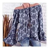 Blouse For Women-Clearance Sale, Farjing Slash Neck Printing Horn Long Sleeves Plus Size Tops Loose Blouse(US:4/S,Gray)