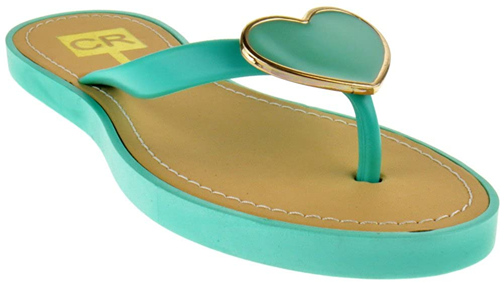 ec7cb057cbe351 CR Collection Amy 1 Jelly Heart Flip Flop Comfort Flat Sandals Mint
