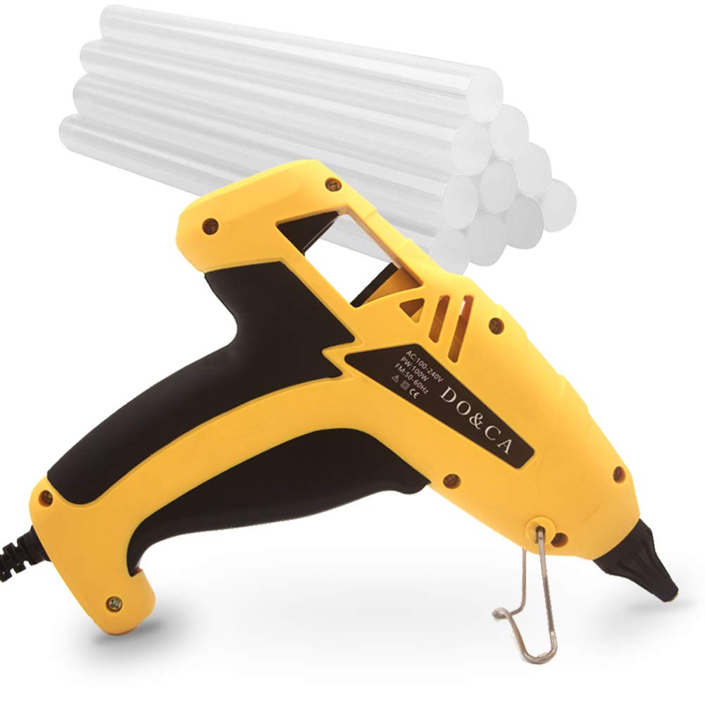 Hot Glue Gun Full Size - 12Pcs Sticks Glue Fast Melt Craft Glue Gun Copper Nozzle for Professional and Amateur Widely Use on Household DIY/Art/Industrial
