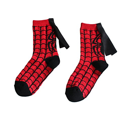 4-6 Years Old Kids Socks Cartoon Superman Spiderman Batman The Flash Design Children Cotton Socks Unisex Boys Girls (4-6 years old, (Spider Man Spring)