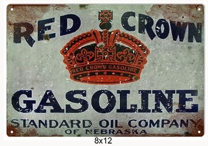 RED CROWN GASOLINE STANDARD OIL COMPANY OF NEBRASKA TIN SIGN
