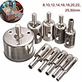 BephaMart 10pcs 8-50mm Diamond Drill Bits Set Tool Hole Saw Cutter for Glass Marble Granite