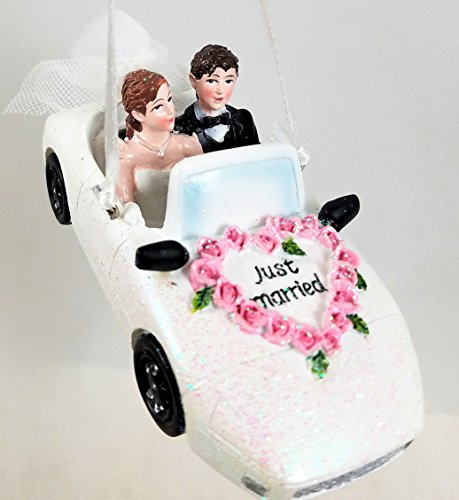 Kurt Adler Bride and Groom in White Wedding Car Just Married Ornament