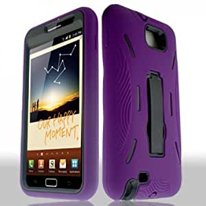Samsung Galaxy Note LTE Case - Nabster Double Layer 2 in 1 Impact Resistant Hybrid Case with Built-in Kickstand for Samsung Galaxy Note LTE/ Samsung SGH-I717/ T879 (Simple Mobile, At&t, T-Mobile) (PURPLE/BLACK)