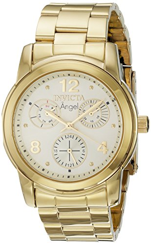 Invicta Angel Lady 38mm Stainless Steel Gold Dial VH68 Quartz Watch
