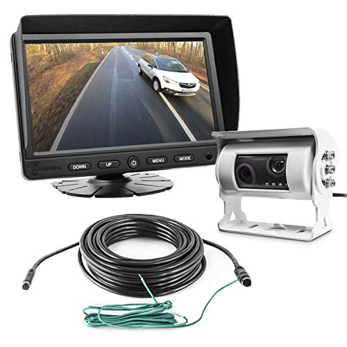 Carmedien cm-DKRFS3 Twin achteruitrijsysteem 12V 24V Dual achteruitrijcamerasysteem digitale achteruitkijkspiegel camper…