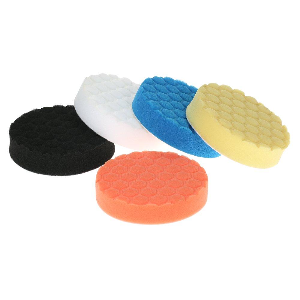 KKmoon 5PCS Brand New 3 80mm//4 100mm//5 125mm//6 150mm//7 180mm Car Polishing Pads Waxing Buffing Pad Sponge Kit Set for Car Polisher Buffer Waxer Sander Polishing Waxing Sealing Glaze